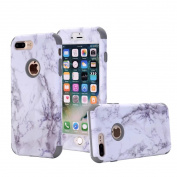 iPhone 7 Plus Case, Ranyi [2 Piece Marble] [360 Full Body Protection] [Shock Absorbing] Luxury Hybrid Rugged Protective 3 in 1 Marble Case for Apple iPhone 7 Plus 5.5 inch (2016), white/grey