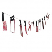 Dreamtop 12pcs Bloody Weapons Halloween Theme Party Banner Horror Garland Hanging Banner PVC, 3m / 9.84ft