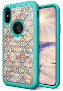 NEEDOON iPhone X Case Slim Hard Silicone Dual Layer Rhinestone Durable Full Body Protective Cover for 15cm ,G