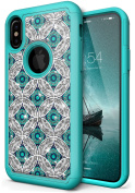 NEEDOON iPhone X Case Slim Hard Silicone Dual Layer Rhinestone Durable Full Body Protective Cover for 15cm ,E