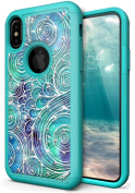 NEEDOON iPhone X Case Slim Hard Silicone Dual Layer Rhinestone Durable Full Body Protective Cover for 15cm ,F