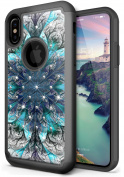 NEEDOON iPhone X Case Slim Hard Silicone Dual Layer Rhinestone Durable Full Body Protective Cover for 15cm ,B