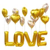 KUMEED 80cm Love Foil Gold Balloon Letter 46cm Gold Silver Heart Foil Balloons Kit for Romantic Wedding Bridal Shower Party Decoration