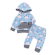 Exteren New Toddler Baby Girls Boys Tiger Animal Hooded Tops+Pants Outfits Clothes Set