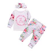 Exteren 3Pcs Newborn Toddler Baby Girls Lettrer Flower Tops Pants Outfits Set Clothes