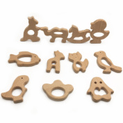 Wendysun 22pcs Beech Wood Animals Handmade Wooden Rings Toys DIY Jewellery Accessories Pendent Set
