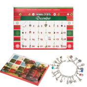 Zhuofu Christmas Advent Calendar Charm Bracelet Necklace DIY 22 Charms Set Fashion Jewellery Advent Calendars for Kids Christmas Toy