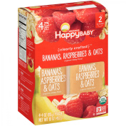 Happy Baby® Organics Clearly Crafted™ Bananas, Raspberries & Oats Organic Baby Food 4-120ml Pouches