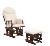 ACME Raul 2-Piece Pack Glider Chair & Ottoman, Beige Microfiber & Cherry