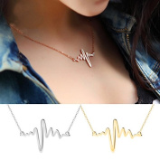 Sc0nni 2 Pcs New Women EKG Necklace Heartbeat Rhythm with Love Heart Shaped