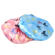 Honbay 2PCS Waterproof Elastic Double Layer Shower Bath Caps Butterfly Shower Caps for Shower,SPA,Makeup and Hair Care - Pink and Blue