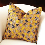 Luxe Beaded Mosaic Accent Pillow | Beads Sequin Yellow Copper Blue Cotton Square