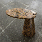 Luxe Genuine Tiger Eye Stone Cantilever Accent Table | Semi Precious Brown Slab