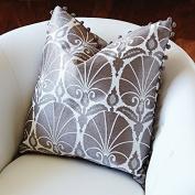 Art Nouveau Modern Silver Fan Accent Pillow | Peacock Deco Retro White Square