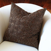 Lavish Beaded Copper Accent Pillow | Axe Pattern Mid Century Modern Metallic