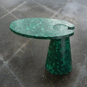 Luxe Genuine Malachite Stone Cantilever Accent Table | Semi Precious Green Slab