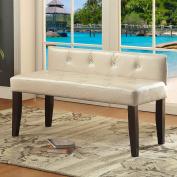 Furniture of America Huntress I Crocodile Leatherette Button Tufted 110cm Accent Bench White White Finish