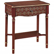 Sofaweb.com Hand Painted Red and Gold Finish Accent Table