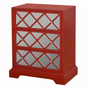 Sofaweb.com Hand Painted Red Finish Mirrored Accent Chest
