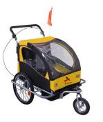 Aosom Elite II 3in1 Double Child Bike Trailer and Stroller - Yellow / Black