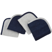 TL Care Cotton Terry 4-Piece Washcloth Set, Navy