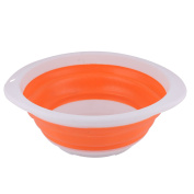 Outdoor Plastic Portable Folding Collapsible Wash Basin Water Container Orange