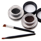Waterproof Gel Eyeliner-Long Lasting-2pcs/Set Black and Brown with 2 Eye Liner Brushes