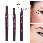 Women Double Head Liquid Eye Liners Pen, Lotus.flower One Second Easy To Wear Press The Chapter Eyeliner Pattern Embellishment Makeup Kit
