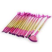 Creazy 15PCS Mermaid Brush Set Foundation Eyeshadow Brushes Makeup Brushes Beauty