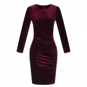 Long Sleeve Casual Dress,Hemlock Women Ladies Velvet Dress Slim Party Dress