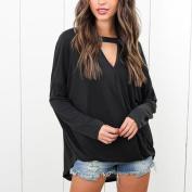 Women Blouse ,IEason 2017 Hot Sale! Women Choker Neck V Neck Loose Casual Long Sleeve Tops Blouse Shirt