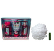 HELLO BEAUTIFUL Bath & Body Works Decorative Gift Box Set of Mini Travel Fine Fragrance Mist, Ultra Shea Cream, Shower Gel & Shower Puff with a Jarosa Bee Organic Peppermint Lip Balm by Jarosa Gifts