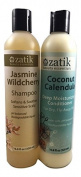 Zatik Natural – Shampoo and Conditioner Set (320ml ea.) Jasmine Wildcherry and Coconut Calendula Deep Moisturising – Men and Women with Normal, Dry, Oily, Damaged, Coloured Hair – USDA