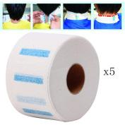 Ecurson 5Rolls×100pcs Stretchy Roll Disposable Neck Paper Strips Barber Salon Hairdressing