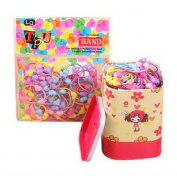 2 Box (200 PCS) Heart Hair Bands Elastics Ponytail Holders With Girl Red Tin Box