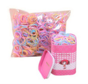 2 Box (4000 PCS) Disposable Jelly Colour Hair Bands With Little Girl Pink Tin Box