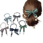 5Pcs Women Girls Mesh Bowknot Hair Tie Rope, Elegant Elastic Ponytail Holders Hair Bands Ties