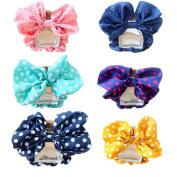 6Pcs Women Girls Big Polka Dot Bowknot Hair Bow Tie Hair Scrunchy, Cute Ponytail Holders