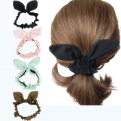 Chiffon Rabbit Hair Ties Scrunchies, Women's Hair Scrunchies Hair Bow Scrunchy Hair Ties