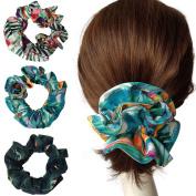 Elegant Large Double Layer Flower Scrunchies, Women's Hair Scrunchies Hair Bow Scrunchy Ponytail Holder-KV001