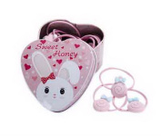 20Pcs Pink Lollipops Style Kids Hair Ties Holders Hair Bands With Rabbit Tin Box