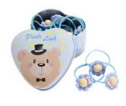 20Pcs Light Blue Flowers Hair Ties Holders Bands With Bear Tin Box For Baby Kids