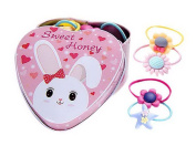 20Pcs Multi Colour Style Hair Ties Holders Hair Bands With Rabbit Tin Box For Kid