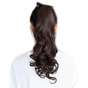 46cm Ribbon Tied Synthetic Chestnut Brown Long Curly Ponytail Hair Extensions