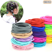 Hisight 100pcs Multi-colour Girls Hair Elastics Hair Ties No Crease Ponytail Holders No Metal 50mm Hair Band Ties, for Girls & Ladies leather ring hair band.