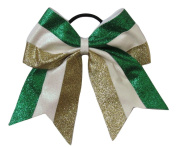 """New """"TWINKLE Green White Gold"""" Cheer Bow Pony Tail 7.6cm Ribbon Girls Hair Bows Cheerleading Dance Practise Football Games Competition Birthday Christmas"""