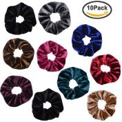 PIDOUDOU 10 Pack Assorted Velvet Hair Ties Scrunchy for Hair Women Elastic Hair Ropes Scrunchies