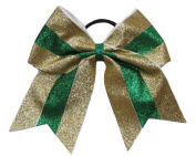 "New ""TWINKLE Gold & Green"" Cheer Bow Pony Tail 7.6cm Ribbon Girls Hair Bows Cheerleading Dance Practise Football Games Competition Birthday Christmas"