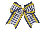 """New """"NAVY YELLOW CHEVRON"""" Cheer Hair Bow Pony Tail 7.6cm Ribbon Girls Cheerleading Practise Football Games Uniform Hairbow Competition"""