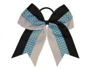 """New """"CHEVRON BLUE STRIPE"""" Cheer Hair Bow Pony Tail 7.6cm Ribbon Girls Cheerleading Practise Football Games Uniform Hairbow Competition"""